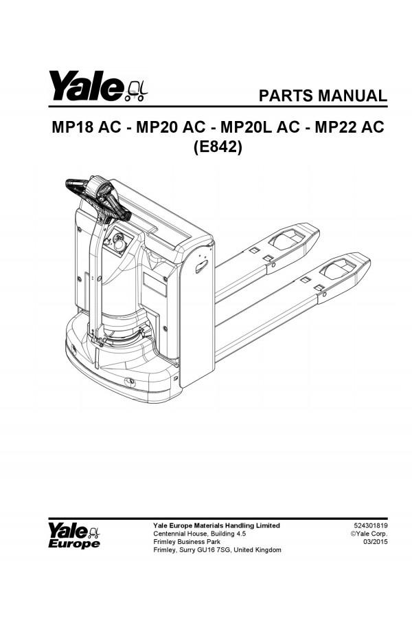 Yale E842 Parts Catalog (Parts Book)